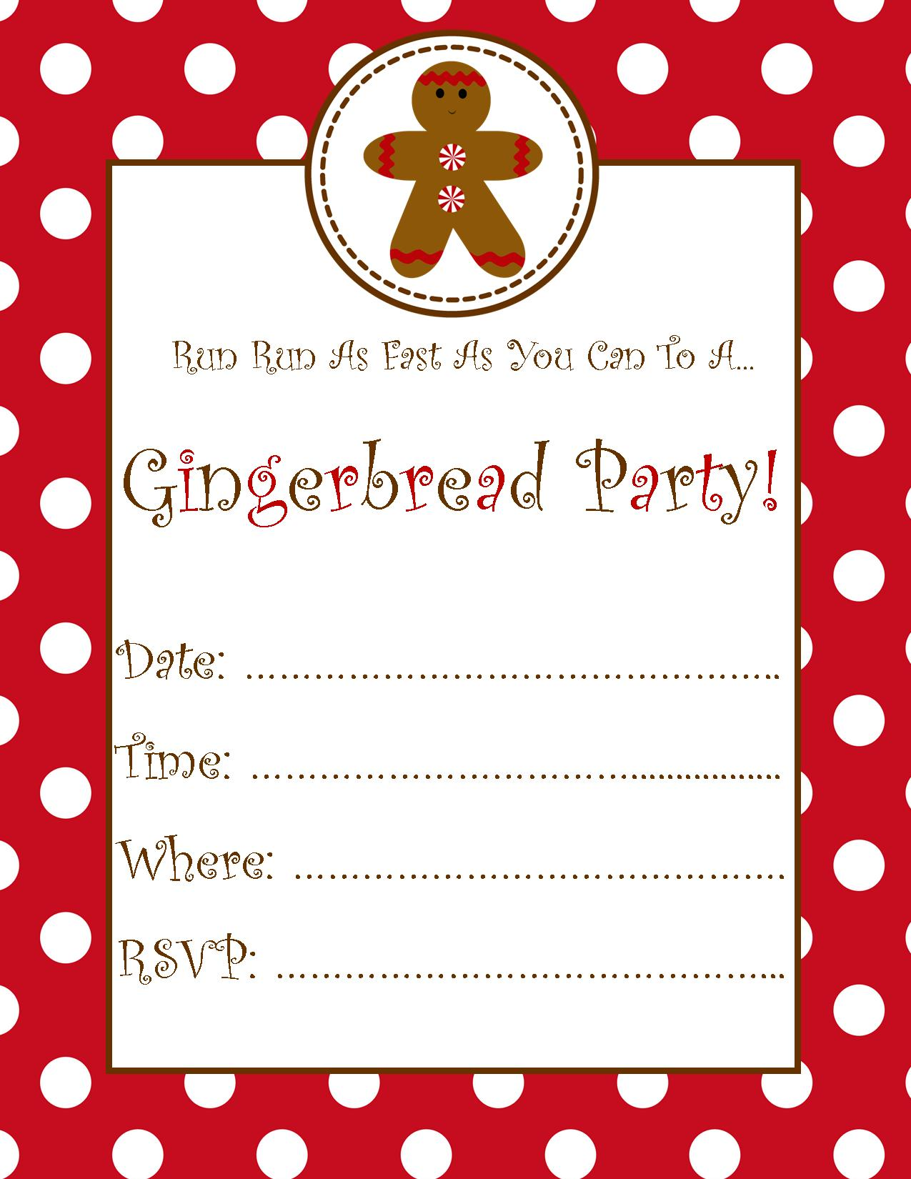 Free Gingerbread Party Invitation SchoolgirlStyle – Gingerbread Party Invitations