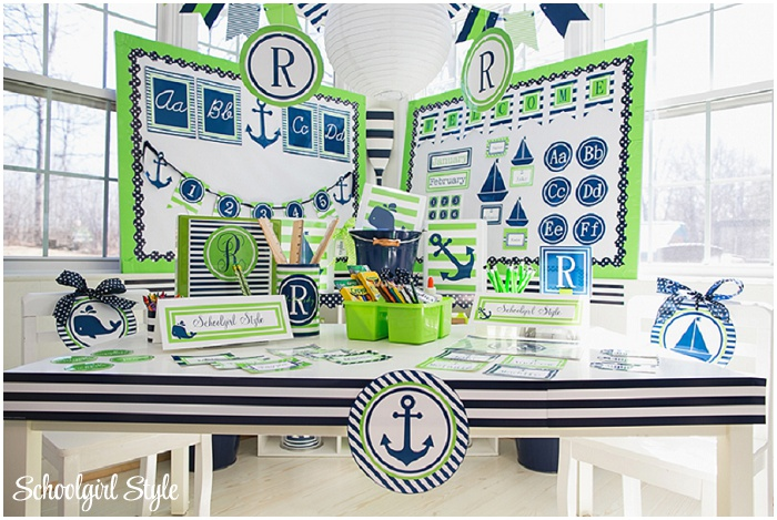 Anchor Classroom Decor ~ Preppy nautical classroom theme schoolgirlstyle