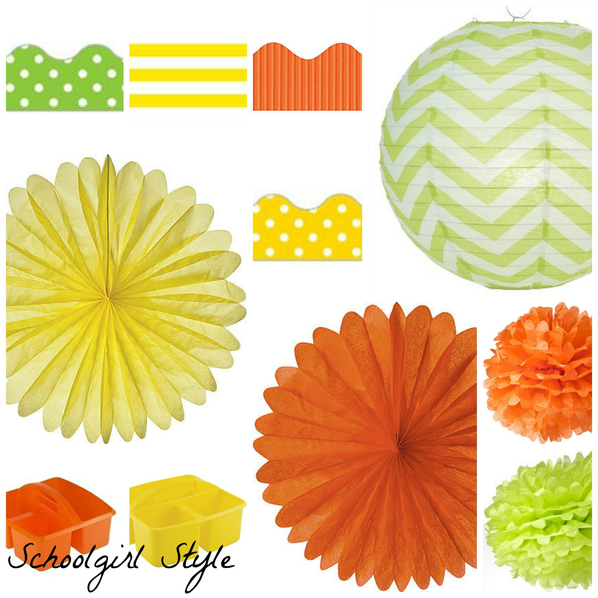 Orange Lime Green Yellow Polka Dot Clroom Decor By School Style